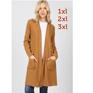 NEW Plus Women's Long Tan Cardigan With Pockets